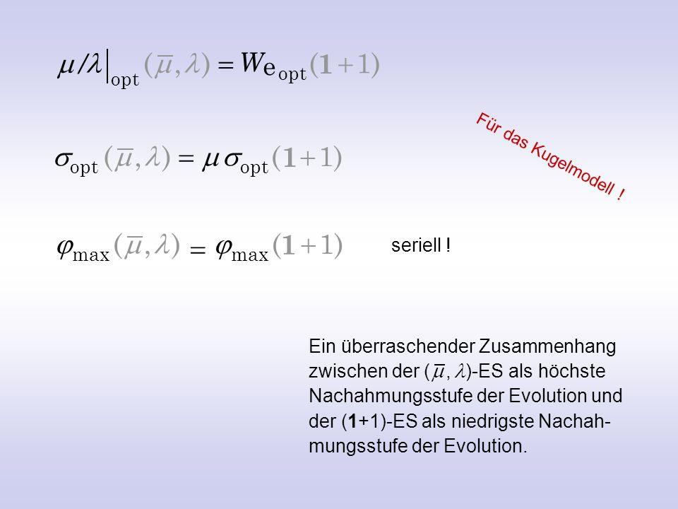 Die Goldene Regel der Evolutionsstrategie (1, )-ES Bei optimaler Mutationsschrittweite verschlechtert sich die gesamte Nach- kommenschaft im Mittel ebenso sehr, wie sich der beste Nachkomme verbessert.