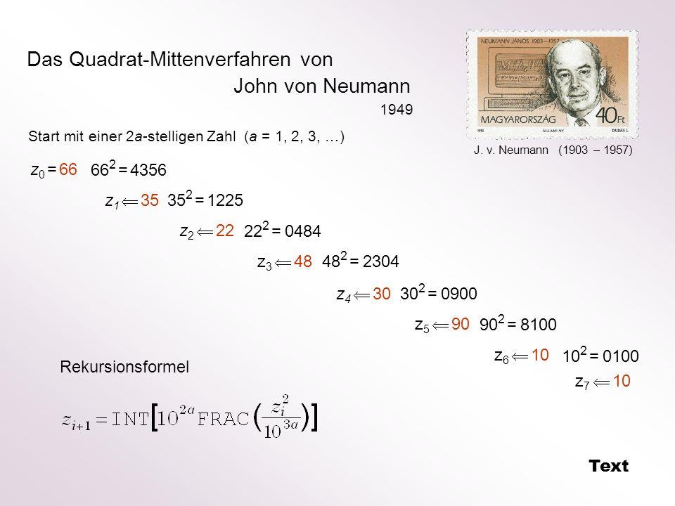 Das Quadrat-Mittenverfahren von John von Neumann z 0 = 66 66 2 = 4356 z 1 35 35 2 = 1225 z 2 22 22 2 = 0484 z 3 48 48 2 = 2304 z 4 30 30 2 = 0900 z 5
