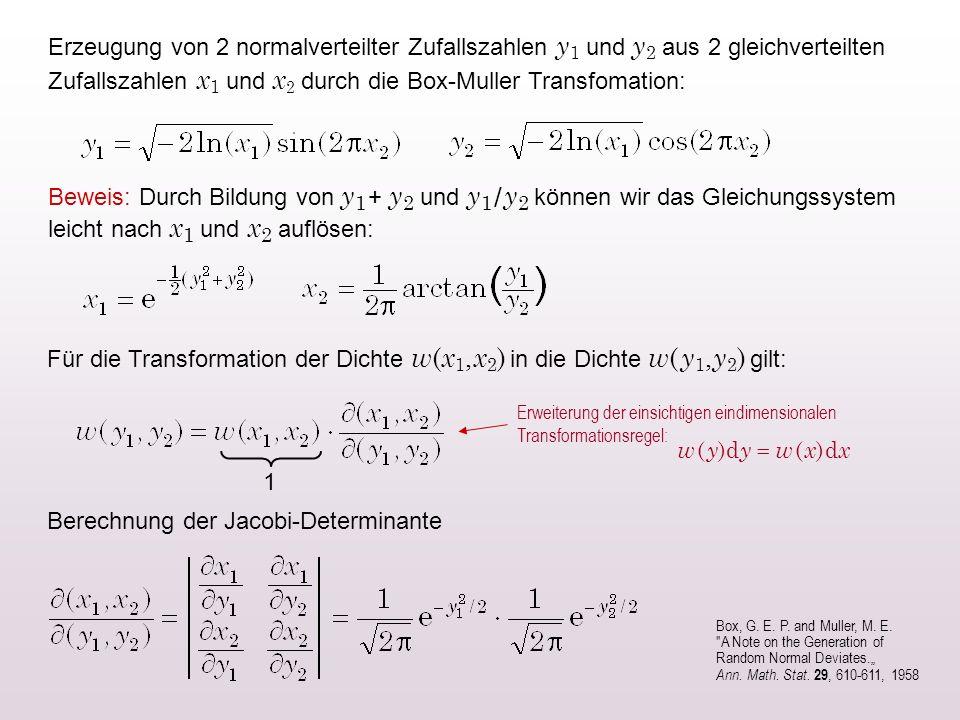 Erzeugung von 2 normalverteilter Zufallszahlen y 1 und y 2 aus 2 gleichverteilten Zufallszahlen x 1 und x 2 durch die Box-Muller Transfomation: Beweis