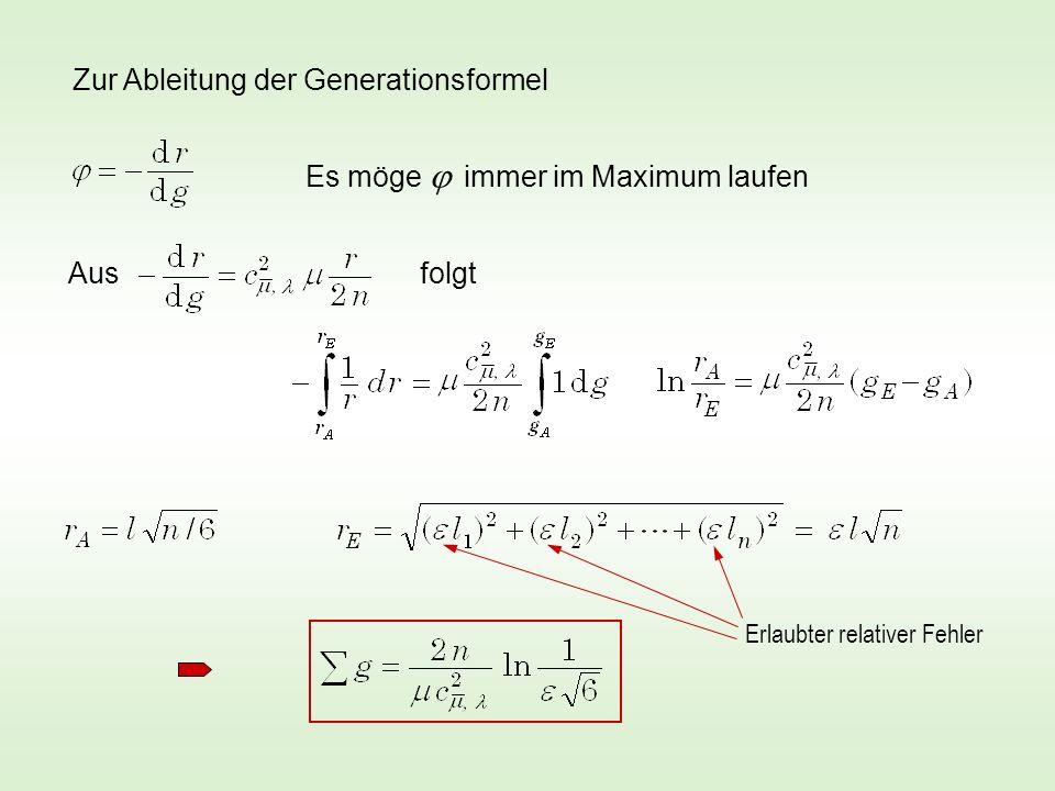 Zur Ableitung der Generationsformel Es möge immer im Maximum laufen folgt Aus Erlaubter relativer Fehler