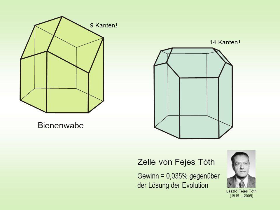 Zelle von Fejes Tóth Bienenwabe Gewinn = 0,035% gegenüber der Lösung der Evolution 9 Kanten ! 14 Kanten ! László Fejes Tóth (1915 – 2005)