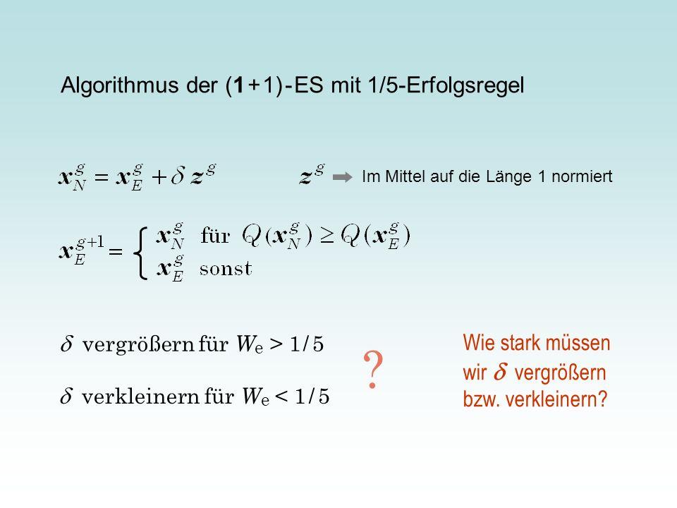 Algorithmus der (1 + 1) - ES mit 1/5-Erfolgsregel Im Mittel auf die Länge 1 normiert vergrößern für W e > 1 / 5 verkleinern für W e < 1 / 5 ? Wie star