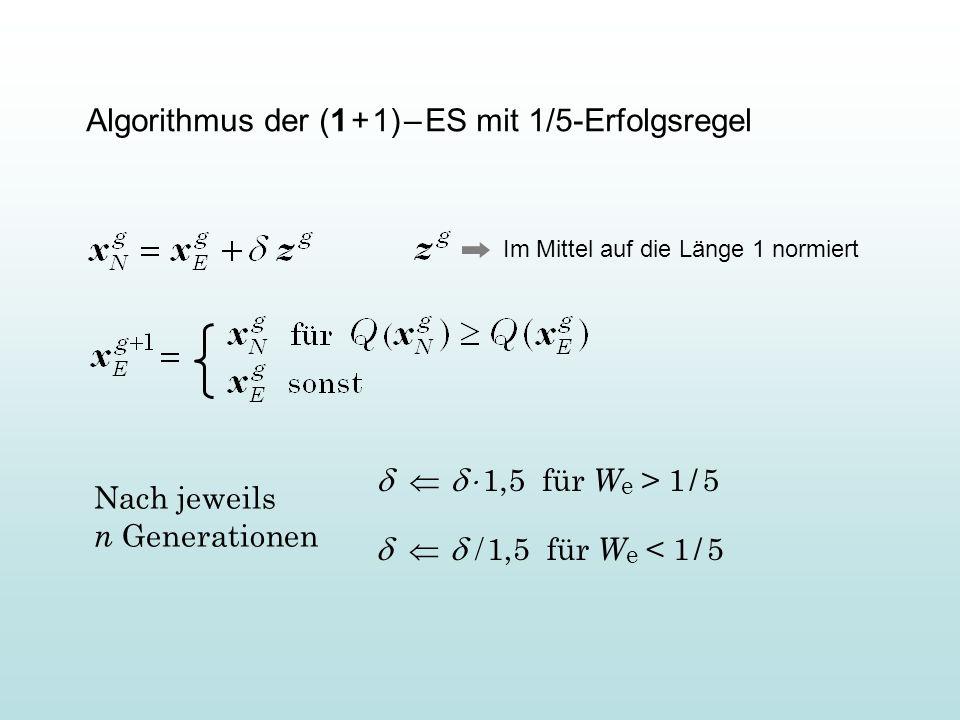 Algorithmus der (1 + 1) – ES mit 1/5-Erfolgsregel 1,5 für W e > 1 / 5 1,5 für W e < 1 / 5 Nach jeweils n Generationen Im Mittel auf die Länge 1 normie