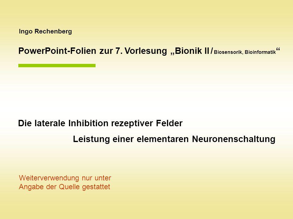 Ingo Rechenberg Die laterale Inhibition rezeptiver Felder Leistung einer elementaren Neuronenschaltung Weiterverwendung nur unter Angabe der Quelle gestattet PowerPoint-Folien zur 7.