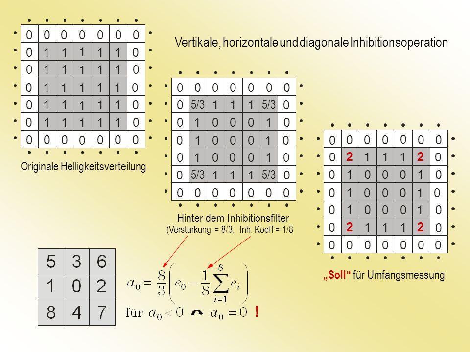 Originale Helligkeitsverteilung Hinter dem Inhibitionsfilter (Verstärkung = 8/3, Inh. Koeff = 1/8 Soll für Umfangsmessung Vertikale, horizontale und d