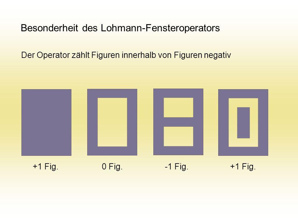 Besonderheit des Lohmann-Fensteroperators Der Operator zählt Figuren innerhalb von Figuren negativ +1 Fig. 0 Fig. -1 Fig. +1 Fig.