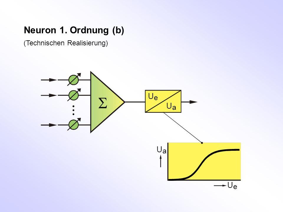 (Technischen Realisierung) Neuron 1. Ordnung (b) UeUe UaUa UaUa UeUe