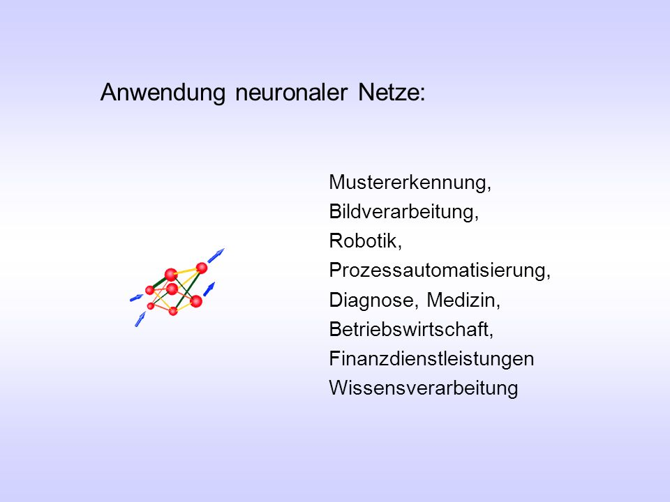 Anwendung neuronaler Netze: Mustererkennung, Bildverarbeitung, Robotik, Prozessautomatisierung, Diagnose, Medizin, Betriebswirtschaft, Finanzdienstlei