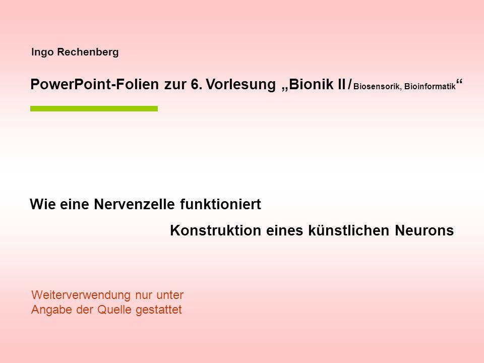 Ingo Rechenberg PowerPoint-Folien zur 6. Vorlesung Bionik II / Biosensorik, Bioinformatik Wie eine Nervenzelle funktioniert Konstruktion eines künstli