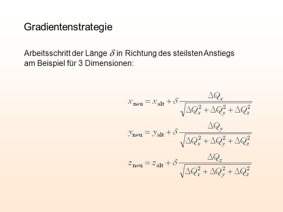 Arbeitsschritt der Länge in Richtung des steilsten Anstiegs am Beispiel für 3 Dimensionen: Gradientenstrategie