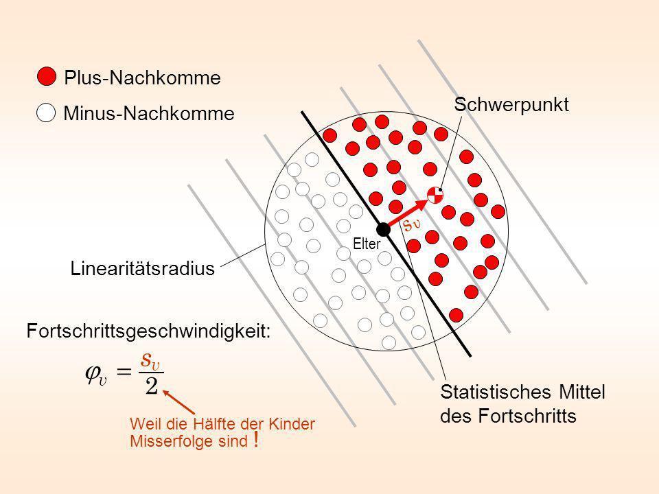 Plus-Nachkomme Minus-Nachkomme Statistisches Mittel des Fortschritts Linearitätsradius Schwerpunkt Elter svsv Fortschrittsgeschwindigkeit: Weil die Hä