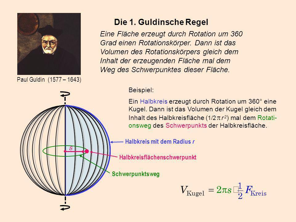 Paul Guldin (1577 – 1643) Die 1. Guldinsche Regel Eine Fläche erzeugt durch Rotation um 360 Grad einen Rotationskörper. Dann ist das Volumen des Rotat