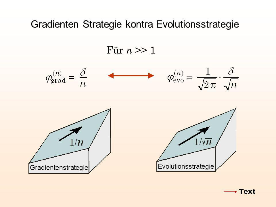 Gradienten Strategie kontra Evolutionsstrategie Für n >> 1 Evolutionsstrategie Gradientenstrategie Text
