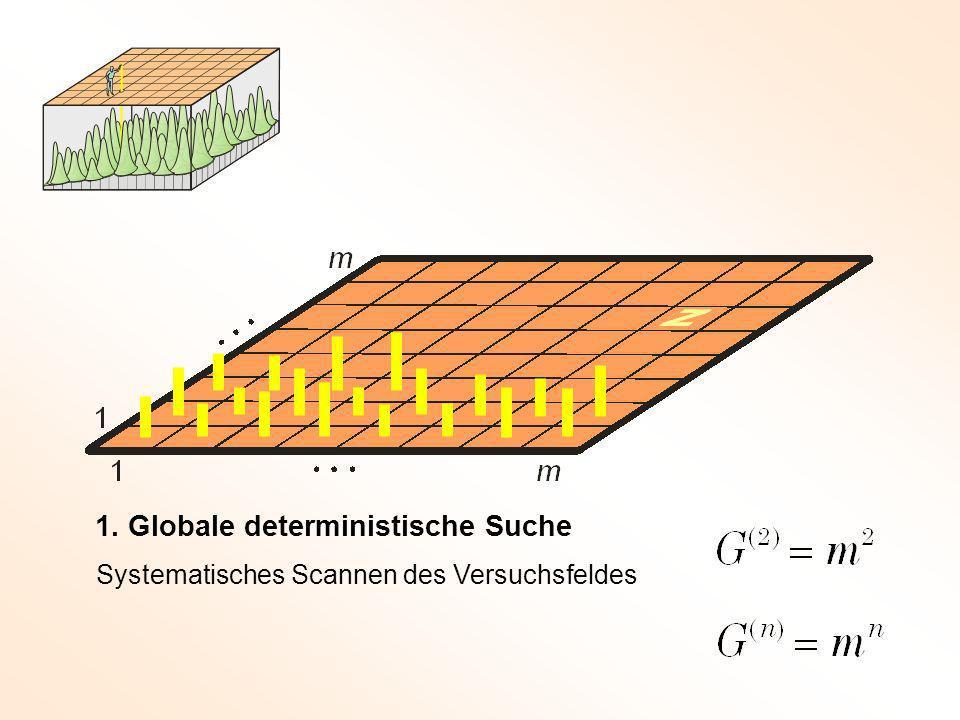 1. Globale deterministische Suche Systematisches Scannen des Versuchsfeldes