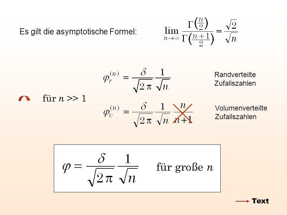 Es gilt die asymptotische Formel: für n >> 1 für große n Randverteilte Zufallszahlen Volumenverteilte Zufallszahlen Text