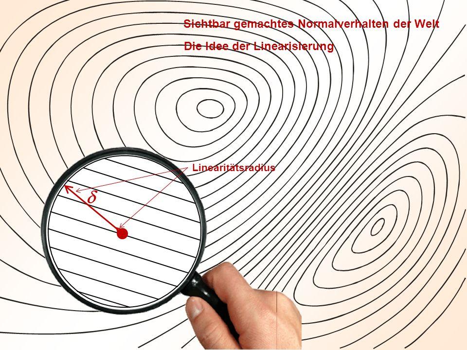 Linearitätsradius Sichtbar gemachtes Normalverhalten der Welt Die Idee der Linearisierung