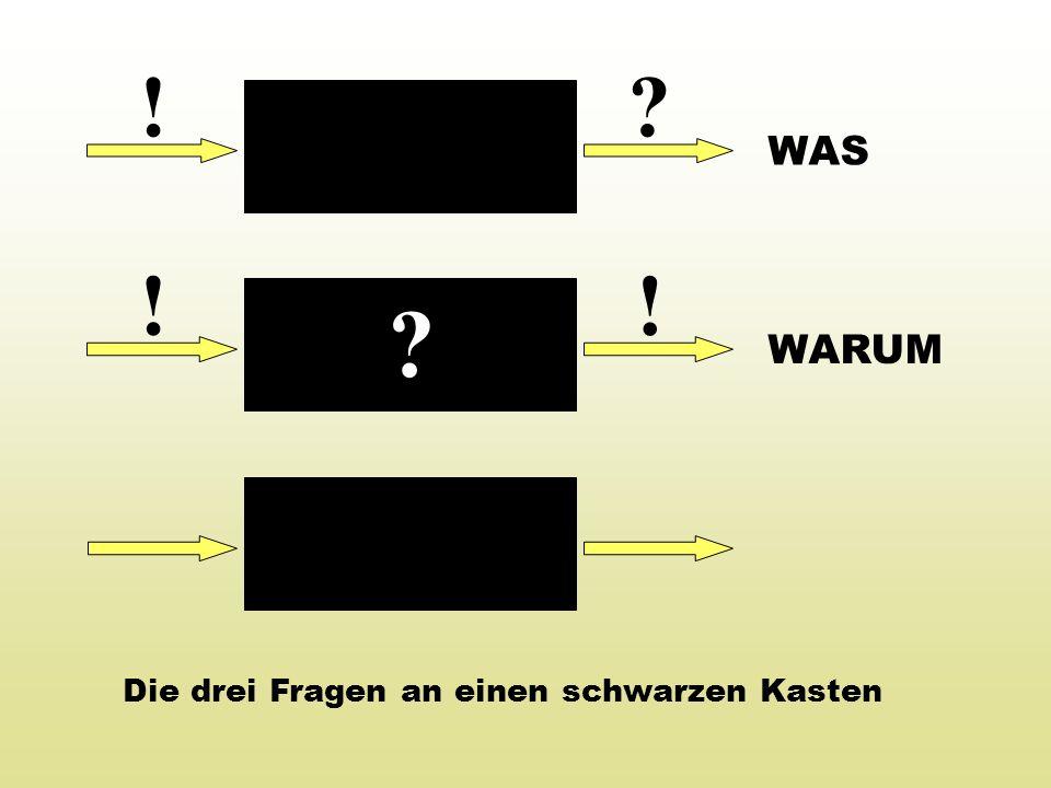 ! ? ! ?! Die drei Fragen an einen schwarzen Kasten WAS WARUM