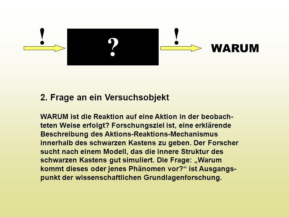 !! 2. Frage an ein Versuchsobjekt WARUM ist die Reaktion auf eine Aktion in der beobach- teten Weise erfolgt? Forschungsziel ist, eine erklärende Besc