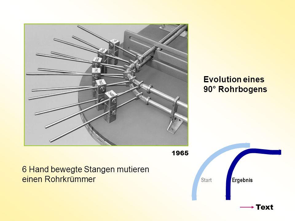 6 Hand bewegte Stangen mutieren einen Rohrkrümmer Evolution eines 90° Rohrbogens Start Ergebnis 1965 Text