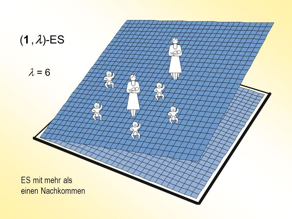 (1, )-ES ES mit mehr als einen Nachkommen = 6