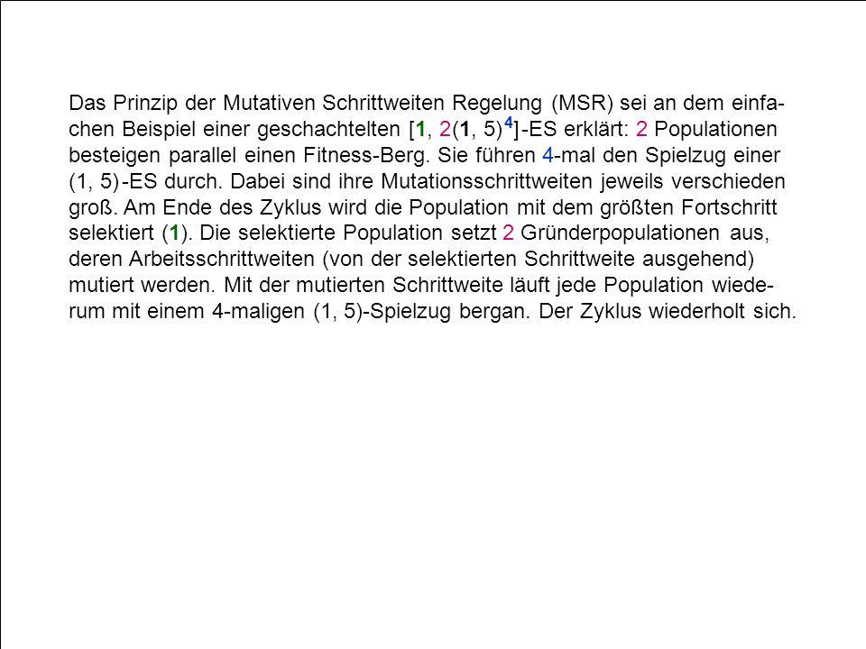 Das Prinzip der Mutativen Schrittweiten Regelung (MSR) sei an dem einfa- chen Beispiel einer geschachtelten [1, 2 (1, 5) 4 ] -ES erklärt: 2 Population