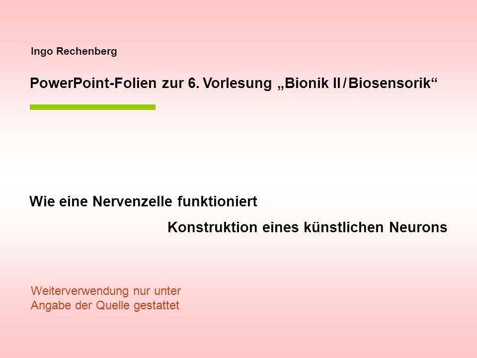 Ingo Rechenberg PowerPoint-Folien zur 6. Vorlesung Bionik II / Biosensorik Wie eine Nervenzelle funktioniert Konstruktion eines künstlichen Neurons We