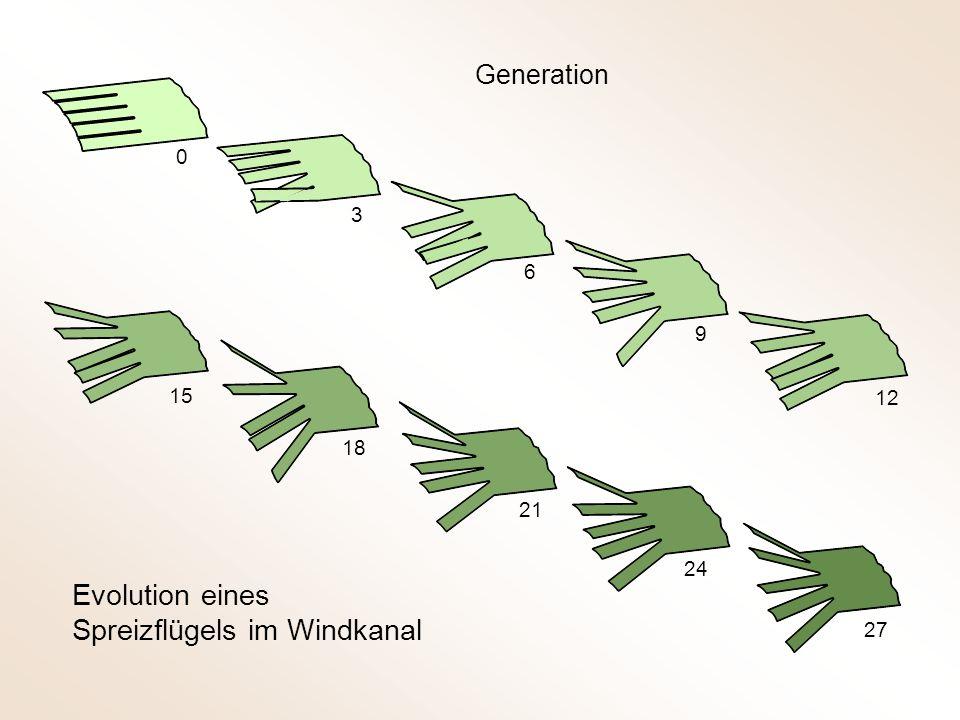 Generation 0 9 12 15 18 21 24 27 Evolution eines Spreizflügels im Windkanal 6 3