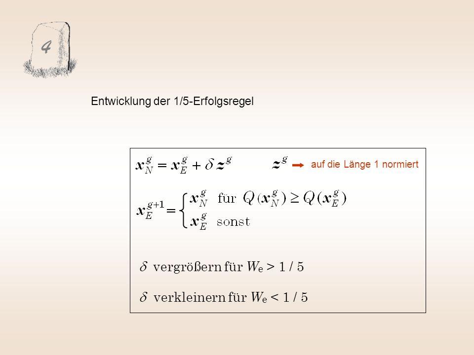 4 Entwicklung der 1/5-Erfolgsregel vergrößern für W e > 1 / 5 verkleinern für W e < 1 / 5 auf die Länge 1 normiert