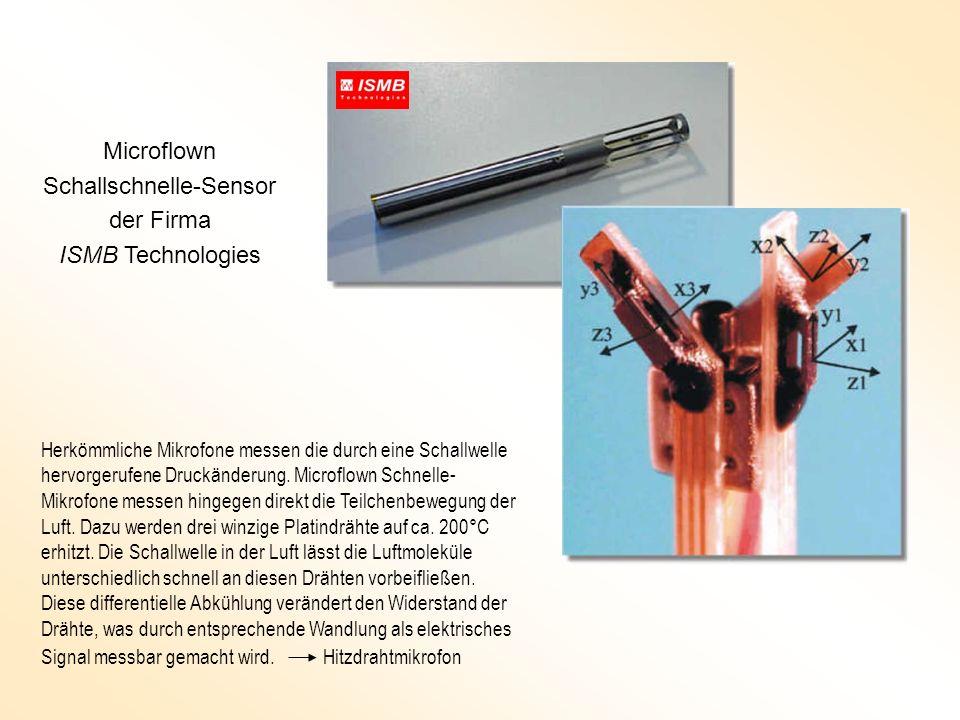 Microflown Schallschnelle-Sensor der Firma ISMB Technologies Herkömmliche Mikrofone messen die durch eine Schallwelle hervorgerufene Druckänderung. Mi