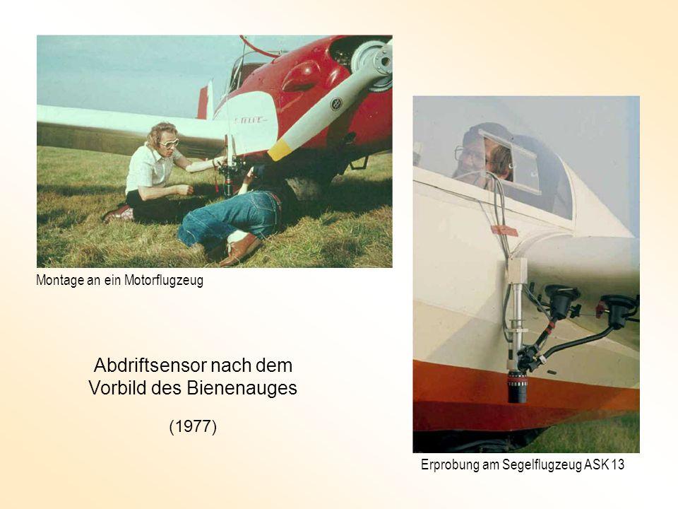 Abdriftsensor nach dem Vorbild des Bienenauges Montage an ein Motorflugzeug Erprobung am Segelflugzeug ASK 13 (1977)