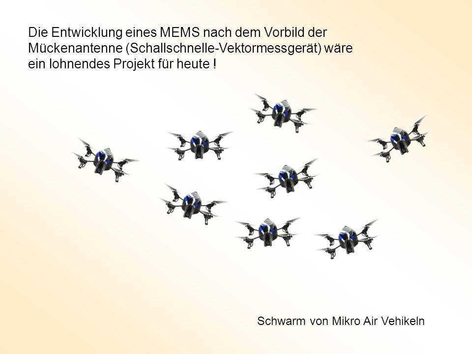 Die Entwicklung eines MEMS nach dem Vorbild der Mückenantenne (Schallschnelle-Vektormessgerät) wäre ein lohnendes Projekt für heute ! Schwarm von Mikr