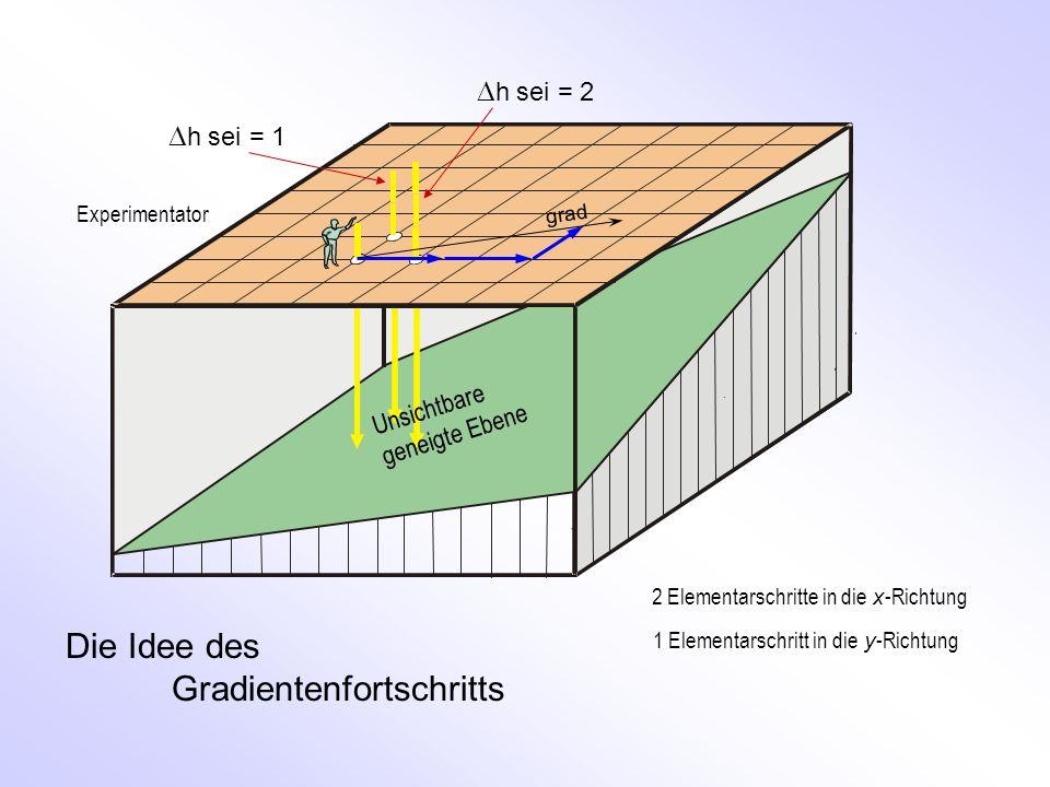 grad h sei = 1 h sei = 2 Die Idee des Gradientenfortschritts Unsichtbare geneigte Ebene 2 Elementarschritte in die x -Richtung 1 Elementarschritt in d