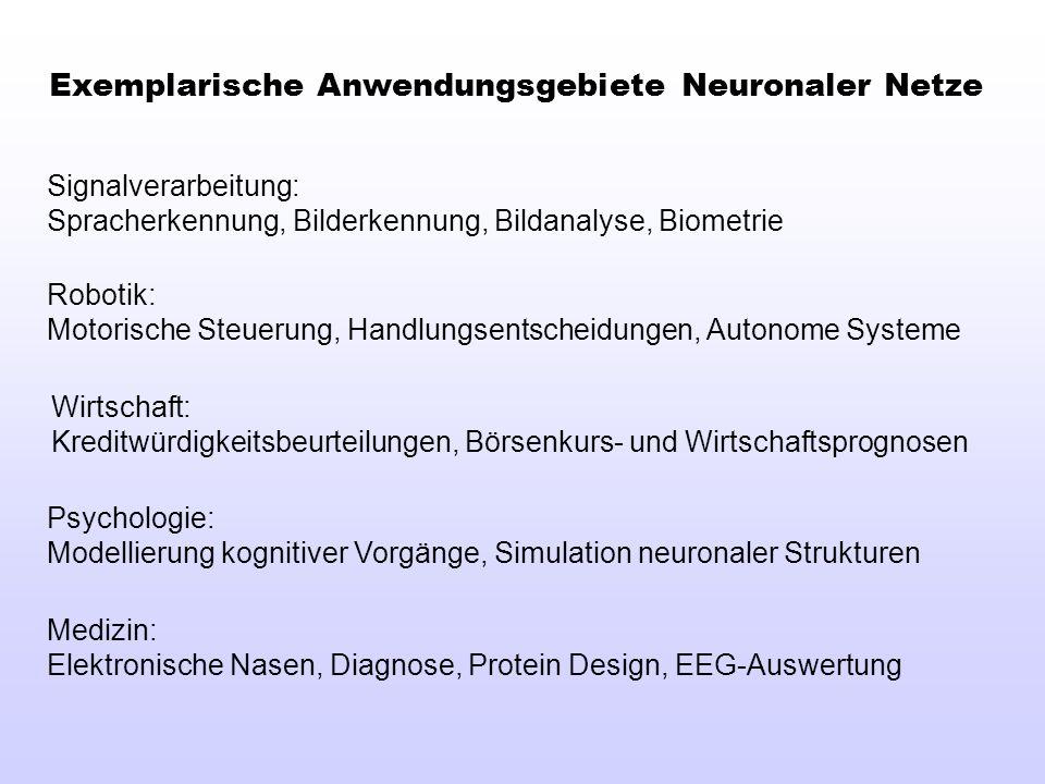 Exemplarische Anwendungsgebiete Neuronaler Netze Signalverarbeitung: Spracherkennung, Bilderkennung, Bildanalyse, Biometrie Robotik: Motorische Steuer