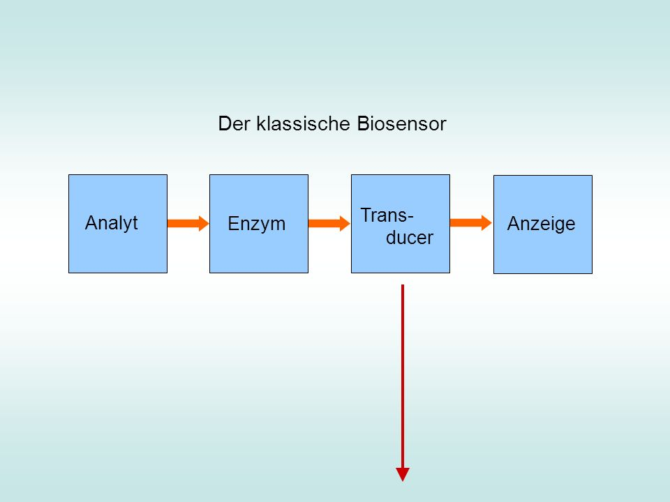 Analyt Enzym Trans- ducer Anzeige Der klassische Biosensor