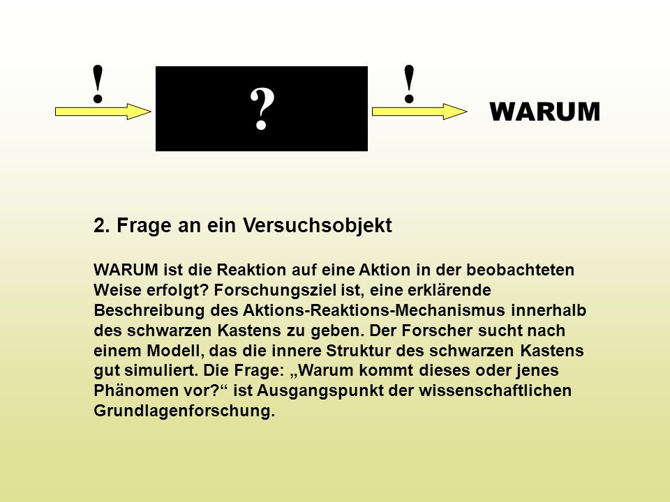 !! 2. Frage an ein Versuchsobjekt WARUM ist die Reaktion auf eine Aktion in der beobachteten Weise erfolgt? Forschungsziel ist, eine erklärende Beschr