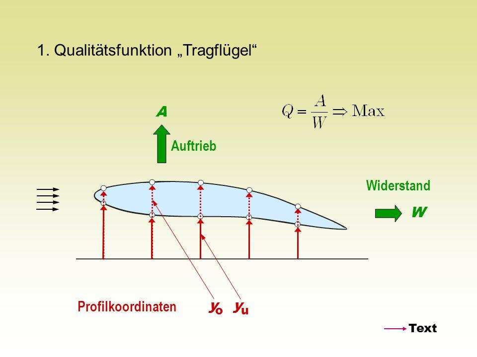 1. Qualitätsfunktion Tragflügel Auftrieb A Widerstand W Profilkoordinaten y o y u Text