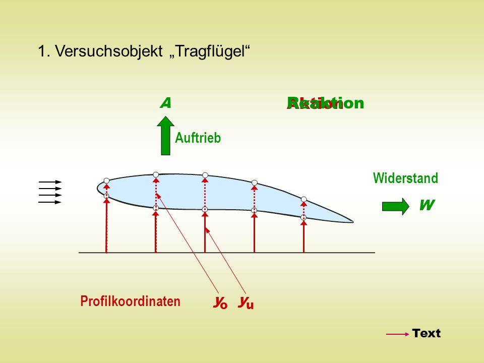 1. Versuchsobjekt Tragflügel Auftrieb A Widerstand W Profilkoordinaten y o y u Aktion Reaktion Text