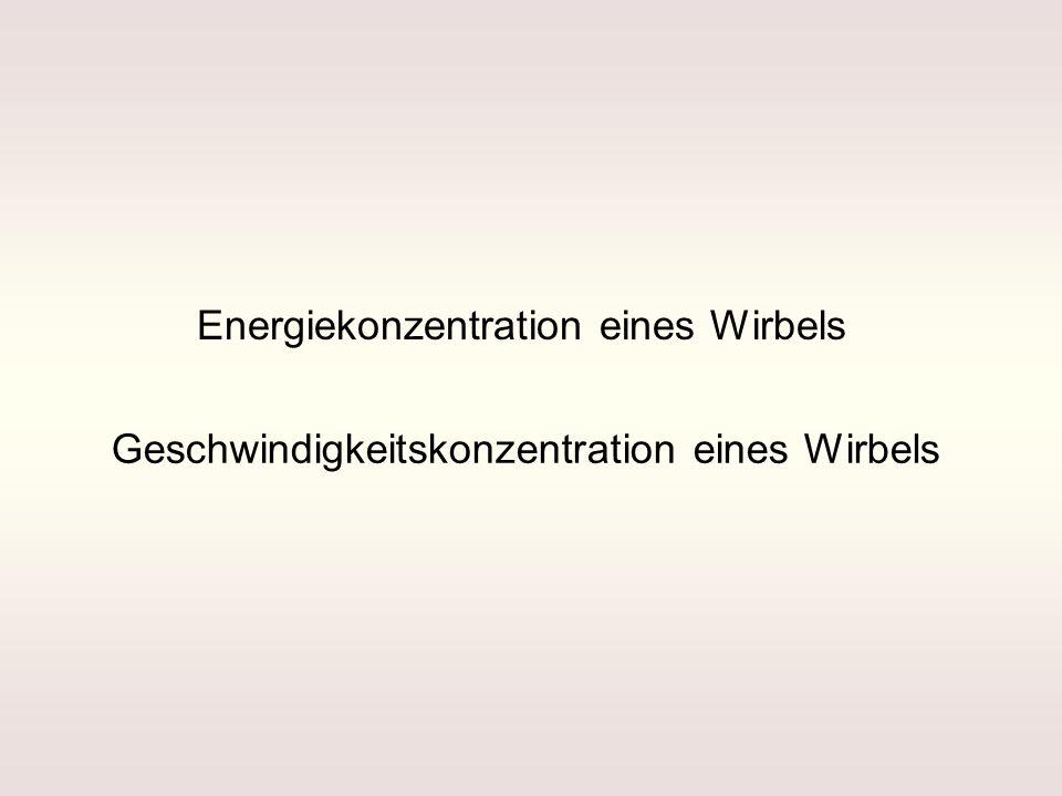 Energiekonzentration eines Wirbels Geschwindigkeitskonzentration eines Wirbels