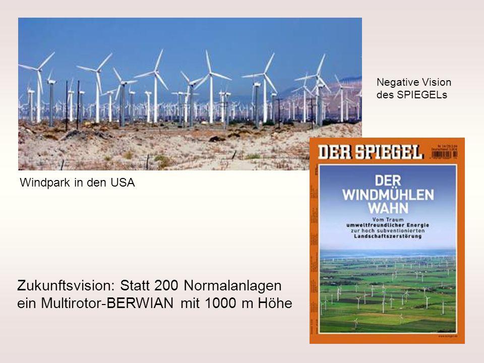 Windpark in den USA Zukunftsvision: Statt 200 Normalanlagen ein Multirotor-BERWIAN mit 1000 m Höhe Negative Vision des SPIEGELs