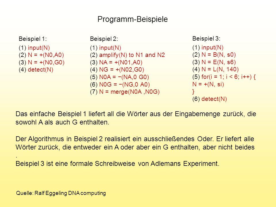 Beispiel 1: (1) input(N) (2) N = +(N0,A0) (3) N = +(N0,G0) (4) detect(N) Beispiel 2: (1) input(N) (2) amplify(N) to N1 and N2 (3) NA = +(N01,A0) (4) N