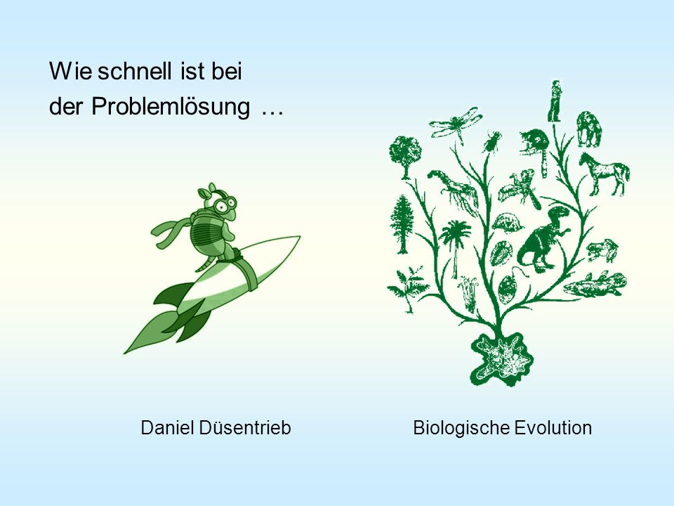 Wie schnell ist bei der Problemlösung … Daniel Düsentrieb Biologische Evolution