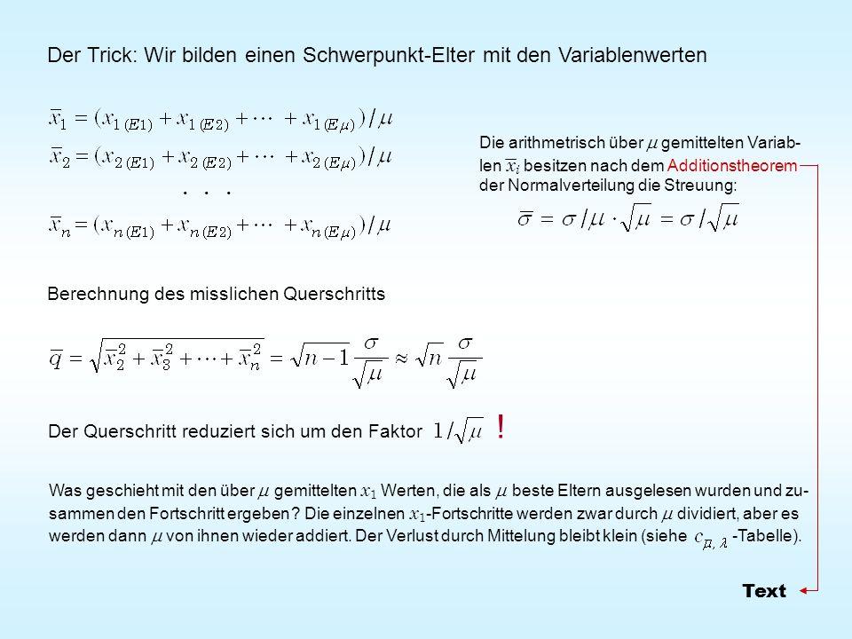 Der Trick: Wir bilden einen Schwerpunkt-Elter mit den Variablenwerten Die arithmetrisch über gemittelten Variab- len x i besitzen nach dem Additionsth