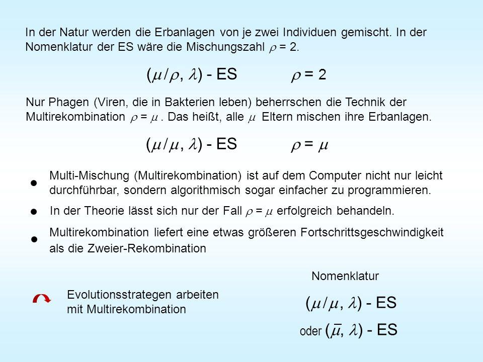 In der Natur werden die Erbanlagen von je zwei Individuen gemischt. In der Nomenklatur der ES wäre die Mischungszahl = 2. (, ) - ES = 2 Nur Phagen (Vi