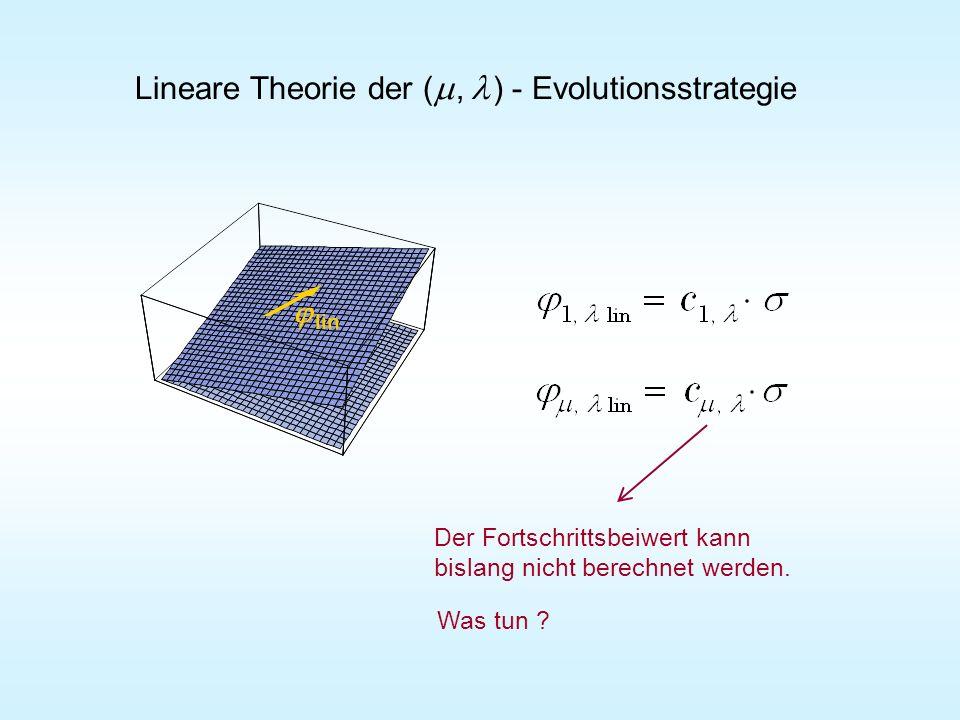lin Lineare Theorie der (, ) - Evolutionsstrategie Der Fortschrittsbeiwert kann bislang nicht berechnet werden. Was tun ?