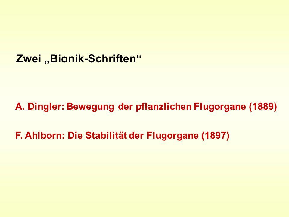 F. Ahlborn: Die Stabilität der Flugorgane (1897) A. Dingler: Bewegung der pflanzlichen Flugorgane (1889) Zwei Bionik-Schriften