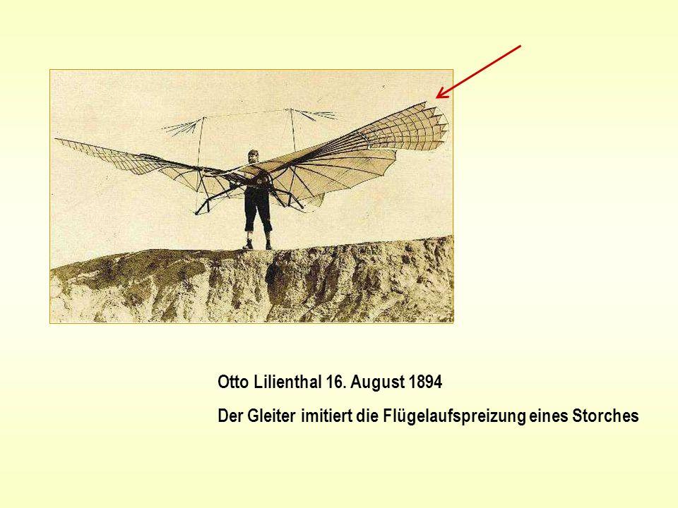 Otto Lilienthal 16. August 1894 Der Gleiter imitiert die Flügelaufspreizung eines Storches