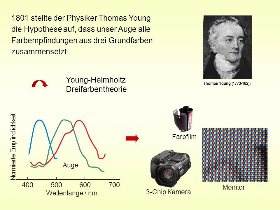 1801 stellte der Physiker Thomas Young die Hypothese auf, dass unser Auge alle Farbempfindungen aus drei Grundfarben zusammensetzt Monitor Thomas Youn