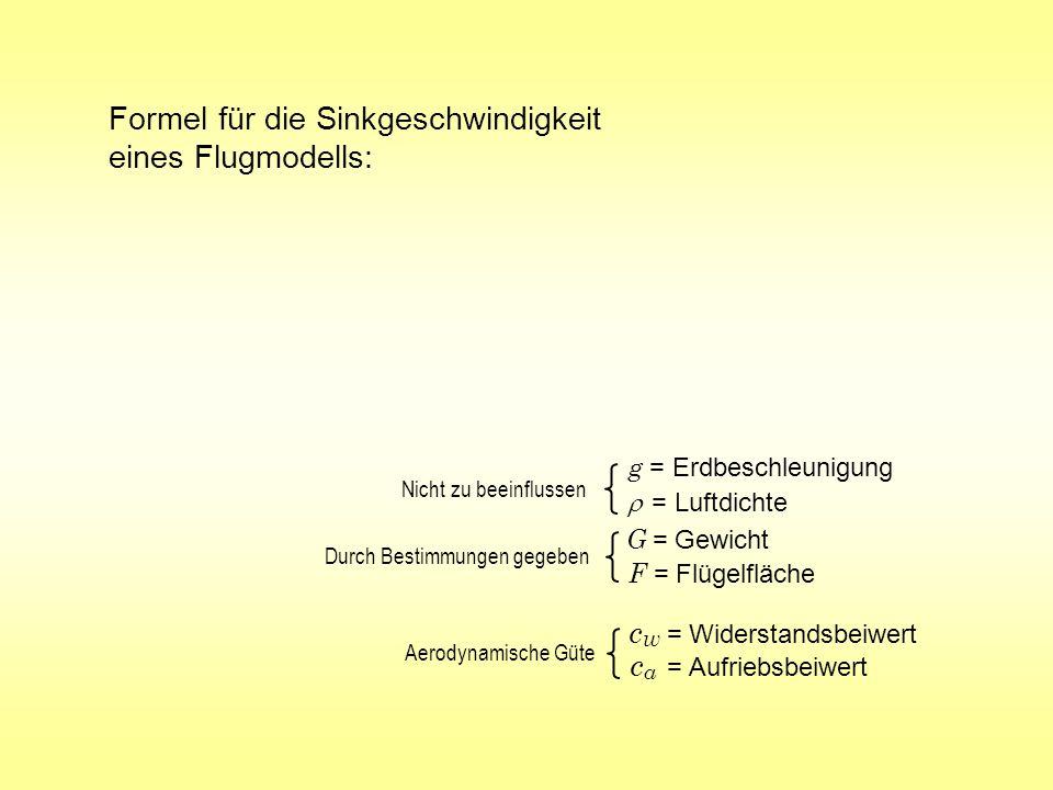 Formel für die Sinkgeschwindigkeit eines Flugmodells: c a = Aufriebsbeiwert g = Erdbeschleunigung = Luftdichte G = Gewicht F = Flügelfläche c w = Wide