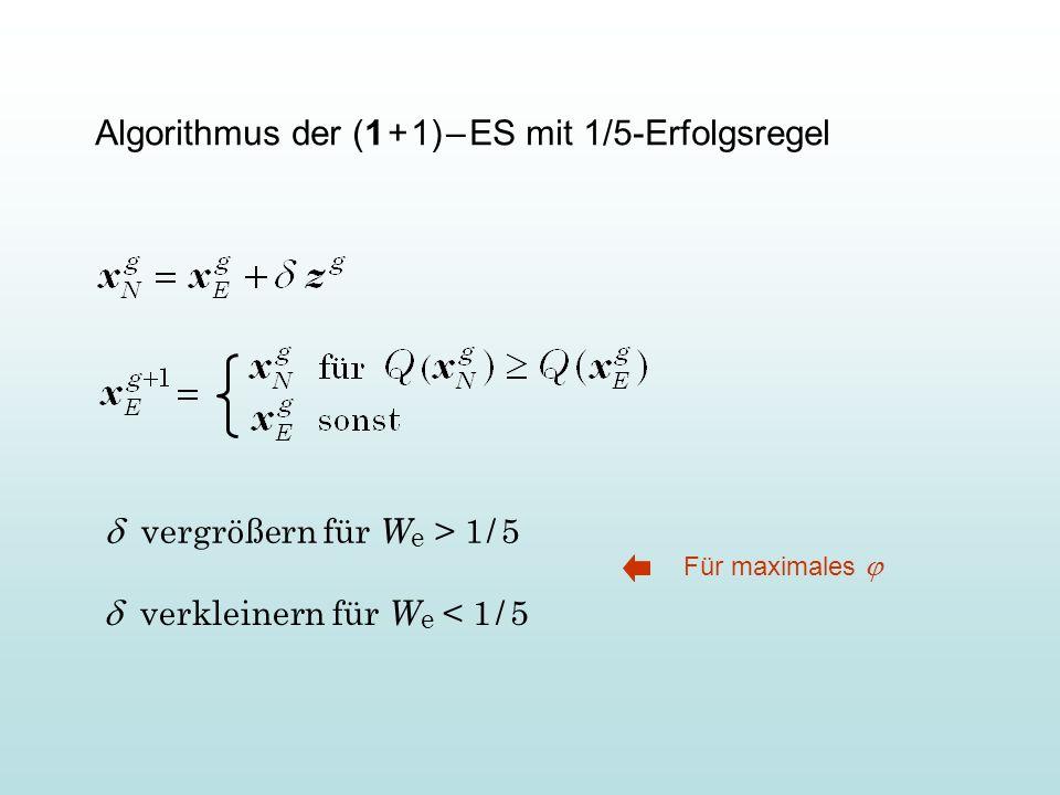 Algorithmus der (1 + 1) – ES mit 1/5-Erfolgsregel vergrößern für W e > 1 / 5 verkleinern für W e < 1 / 5 Für maximales
