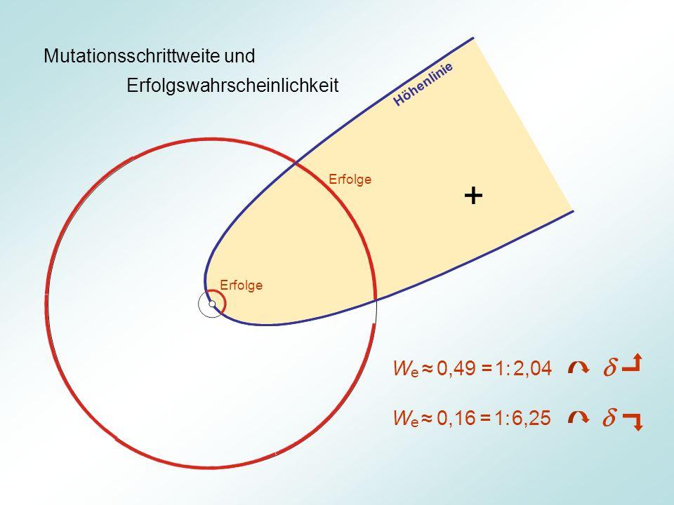 Mutationsschrittweite und Erfolgswahrscheinlichkeit Erfolge W e 0,49 = 1: 2,04 W e 0,16 = 1: 6,25 Höhenlinie +